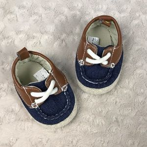 First Steps Baby Boy Boat Shoes Blue Tan 3-6M